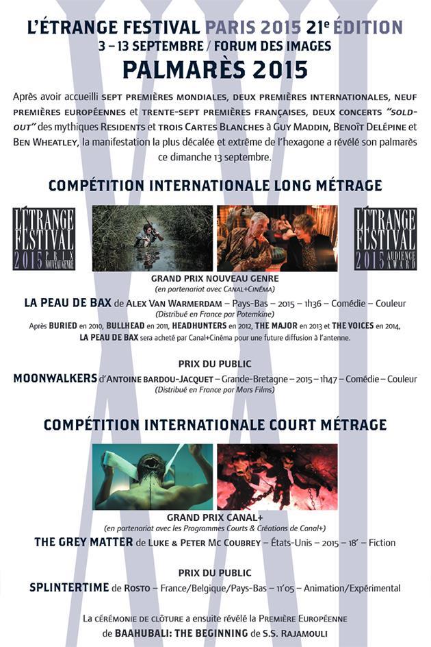 Palmarès étrange festival 2015