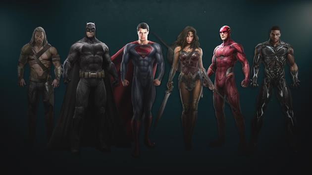 Un concept art de la Justice League dévoile les costumes : Les 6 membres de la ligue réunis sur une même image