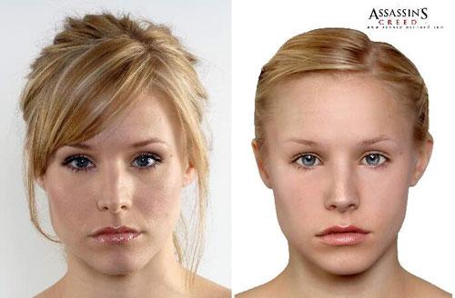 à gauche la Kristen Bell d'origine, à droite la version dans le jeu