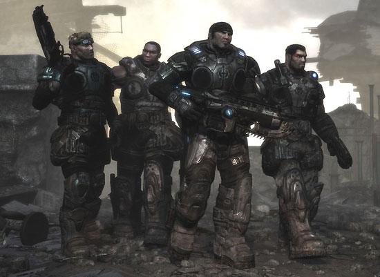 L'équipe de Marcus Fenix dans le jeu Gears of War