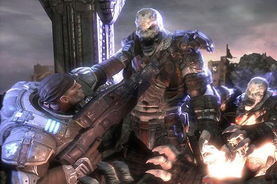 Marcus face à un méchant Locuste, extraterrestre à la recherche de chair fraiche, vous!