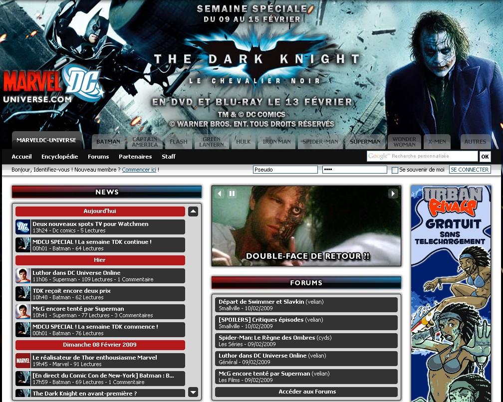 Capture d'écran de MarvelDC-Universe.com