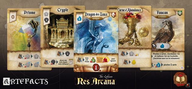 cartes artefact jeu Res Arcana