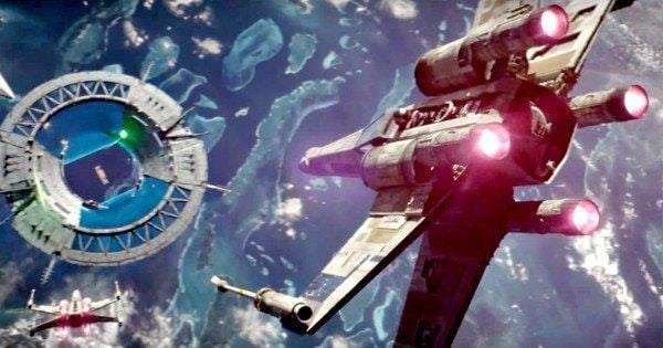 L'attaque des X-Wings sur le bouclier de Scarif