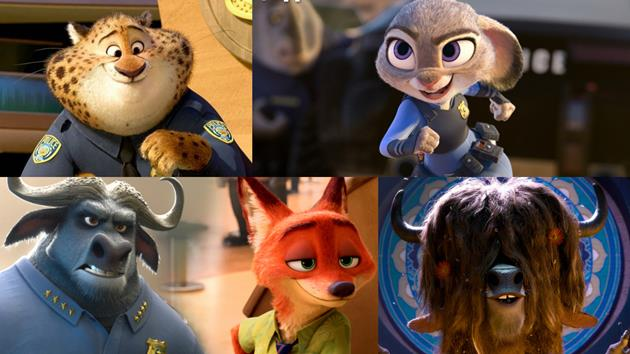 Quelques personnages de Zootopie