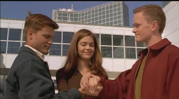 Starship Troopers: Johnny Rico (Casper Van Dien), Carmen Ibanez (Denise Richards) et Carl Jenkins (Neil Patrick Harris)