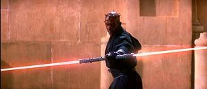 La menace fantôme: Padme Amidala (Natalie Portman), Anakin Skywalker (Jake Lloyd). Dark Maul (Ray Park) aux prises avec Obi-Wan kenobi (Ewan McGregor) et Qui Gon Jinn (Liam Neeson)