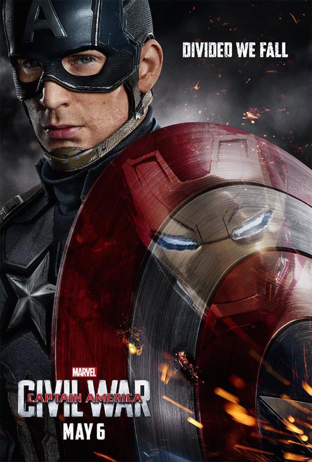 Affiche teaser Américaine : Captain America reflet d'Iron Man