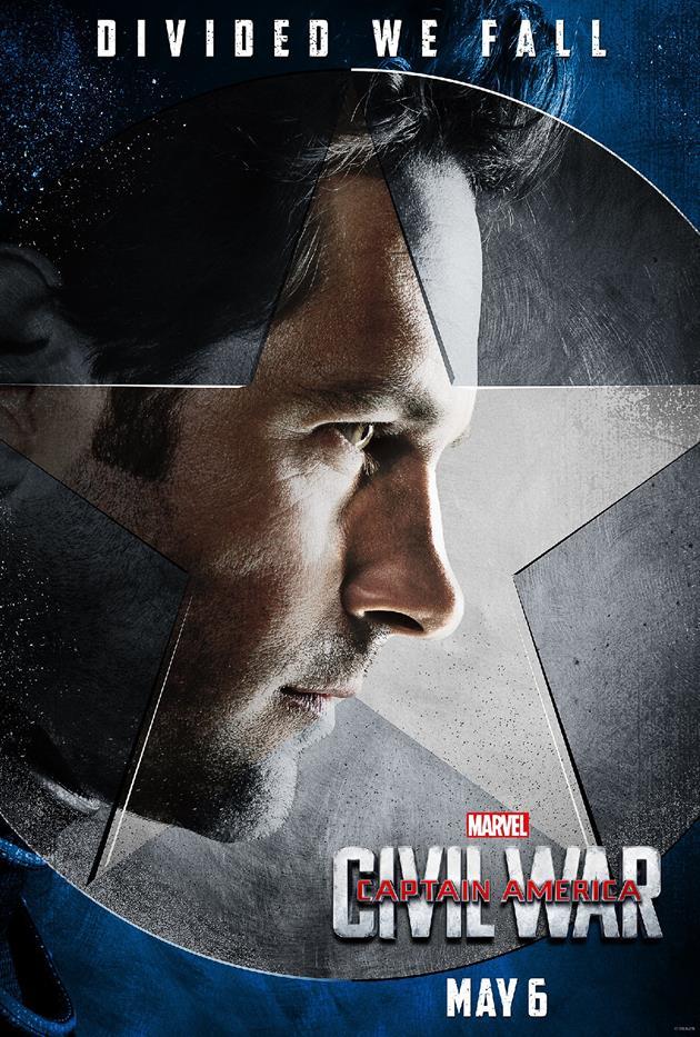 """Affiche """"Divided We Fall"""" - Ant Man du côté du Captain"""