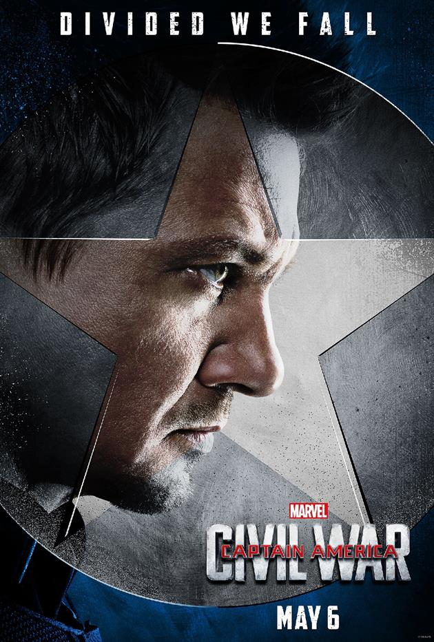 "Affiche ""Divided We Fall"" - Hawkeye du côté du Captain"