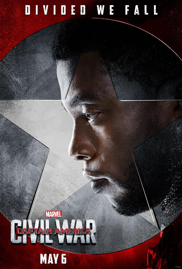 "Affiche ""Divided We Fall"" - Black Panther du côté de Tony Stark"