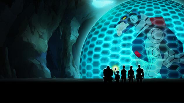 Vue du dome contenant un robot-lion