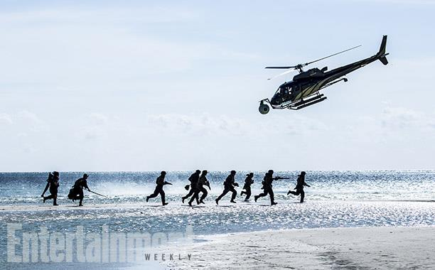 Tournage du débarquement depuis un hélicoptère