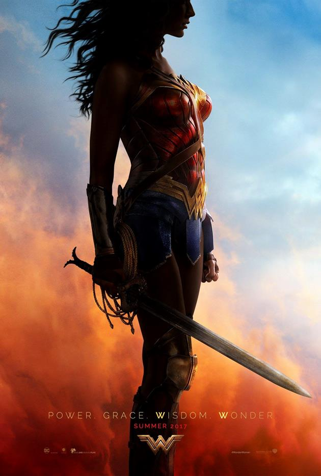"Affiche teaser américaine de Wonder Woman ""Power, Grace, Wisdom, Wonder"""