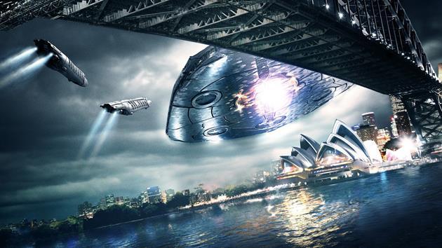 Le vaisseau des Visiteurs au dessus de Sydney