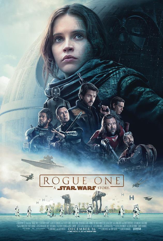 Affiche américaine de Star Wars Rogue One, centrée sur le personnage de Jyn Erso
