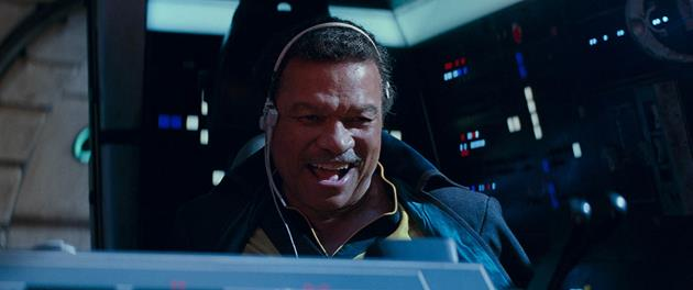 Lando Calrissian à bord du Faucon Millenium